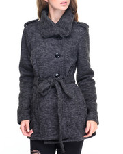 Women - Belt Wrap Fleece Coat