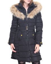 Women - Funnel Neck Faux Fur Puffer