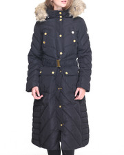 Women - Matrix Diagonal Pattern Full Length Puffer Coat