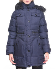 Women - Around The Way Girl Denim Inspired Puffer Coat