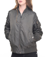 Women - Oversized Satin Flight Bomber W/Faux fur lining and zippers