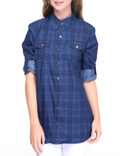 Fashion Lab - Plaid Denim Hi-Low Hem Shirt