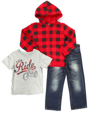 Sets - 3 PC SET - BUFFALO PLAID HOODY, TEE, & JEANS (4-7)