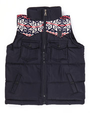 Outerwear - SWEATER TRIM PUFFER VEST (4-7)