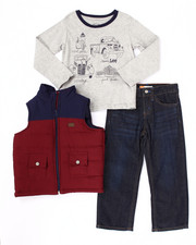 Sets - 3 PC SET - PUFFER VEST, L/S TEE, & JEANS (4-7)