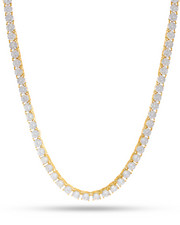 Accessories - 5mm 14K Gold Plated One Row Iced Out Diamond CZ Chain