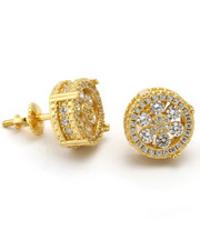 Accessories - King Gold Button 14K CZ Earrings