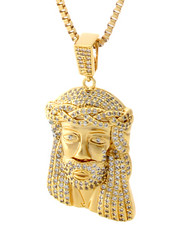 Accessories - CZ Jesus Piece Necklace - Medium Pendant