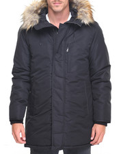 Men - Faux - Fur Hooded Nylon Coat