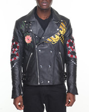 Outerwear - Moth Rocker Genuine Leather Jacket