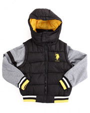 U.S. Polo Assn. - BUBBLE VEST W/ FLEECE SLEEVES (8-20)