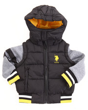 Heavy Coats - BUBBLE VEST W/ FLEECE SLEEVES (2T-4T)