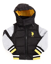 U.S. Polo Assn. - BUBBLE VEST W/ FLEECE SLEEVES (4-7)