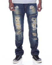 Men - Patched - In Destructed Denim Jeans