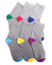 Women - Color Heel/Toe 6PK Crew Socks