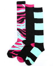 Women - Camo Stripe 3PK Knee High Socks