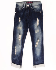 Girls - SUPER SOFT DISTRESSED CUFF JEANS (4-6X)