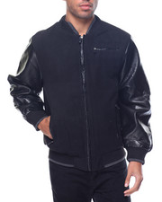 Buyers Picks - Basic Faux - Leather Sleeved Varsity - Style Jacket