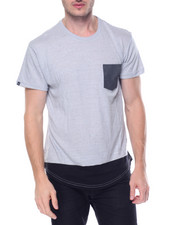 Men - Scallop Hem contrast Pocket Tee