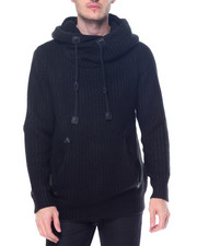 Men - Knitted Pullover Hooded Sweater