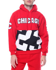 Basic Essentials - Chicago Patched Fleece Pullover Hoodie
