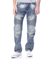 Basic Essentials - Biker - Style Acid Washed Distressed Denim Jeans