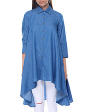 Cotton Express - Hi Low Hem Pocketed Denim Dress