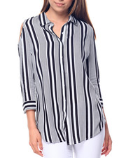 Polos & Button-Downs - Striped Cold Shoulder Shirt