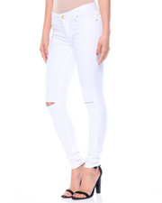 Women - White Destructed Butted Lift Jeans
