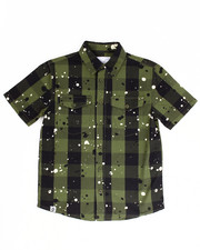 Boys - S/S SPLATTER BUFFALO CHECK WOVEN (8-20)