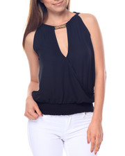 Sleeveless - Chain Trim Smocked Waist Top