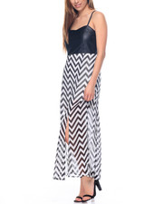 Dresses - Vegan Leather Chevron Print Carwash Dress