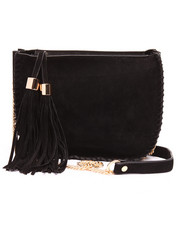 Women - Faux Suede Chain Trim Tossel Crossbody Bag