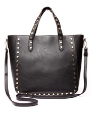 Women - Grommet Trim Vegan Leather Tote Bag