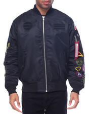 Light Jackets - M A 1 - Style Multi - Patch Nylon Bomber Jacket