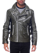 Men - Tri - Tone Splatter Faux Leather Biker Jacket