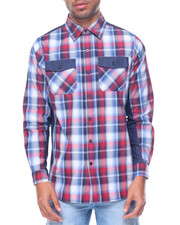 Akademiks - Logan Denim Trimmed L/S Plaid Button-Down