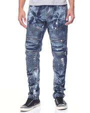 Jeans & Pants - Dusty Wash Moto Denim Jeans