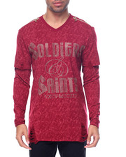 Men - Soldiers & Saits Destructed Garment Washed L/S Crewneck