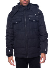 Heavy Coats - Wool / Nylon Hooded Quilted Coat