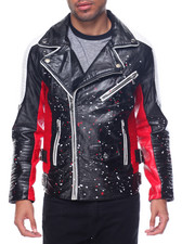 Buyers Picks - Tri - Tone Splatter Faux Leather Biker Jacket