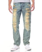 Men - Broken Wash Moto Denim Jeans