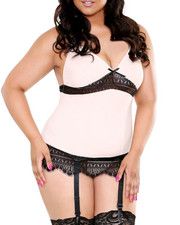 Plus Size - Charmeuse/Lace Garter Set (Plus)