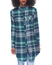 Polos & Button-Downs - Brushed Cotton Flannel Hi Slits Roll Tab Tunic