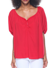 Women - Oversized Dolman Sleeve Hi-Low Hem Top