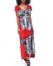 Women - Chain Animal Print Surplice Maxi Dress