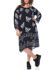 Fashion Lab - Cold Shoulder Butterfly Batik Print Top  (Plus)