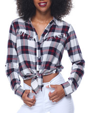Women - Fringe Yoke Tie Front Yarn Dyed Plaid Shirt