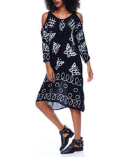 Women - Cold Shoulder  Batik Print Dress