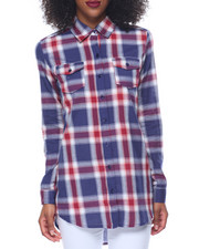 Polos & Button-Downs - Yan Dyed Plaid Boyfriend Tunic